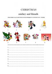 English Worksheet: CHRISTMAS MICKEY MOUSE AND FRIENDS