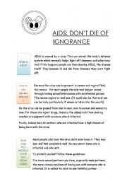 English Worksheets: AIDS: DON�T DIE OF IGNORANCE