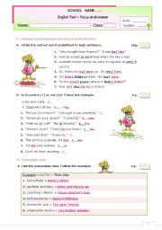 English Worksheet: The KEY for the GRAMMAR TEST