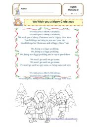 English Worksheet: We Wish you a Merry Christmas