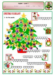 English Worksheet: CHRISTMAS PUZZLE - PAGE 1