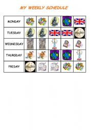 English Worksheet: MY WEEKLY SCHEDULE