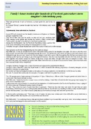 English Worksheet: Facebook: Real story of how a family´s house was trashed after their daughter advertised her party on Facebook