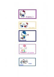English Worksheet: Motival stickers with Hello Kitty