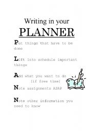 English Worksheets: Organizing a Planner