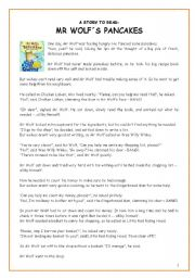 English Worksheet: A story for storytelling: Mr Wolf�s pancakes