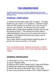 English Worksheets: THE AMAZING RACE