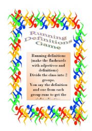 English Worksheet: Adjectives - running definitions Game