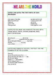 English Worksheet: we are the world song