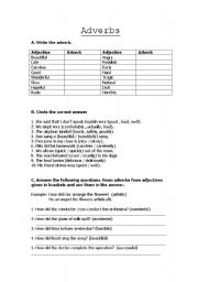 English worksheet: Adverbs