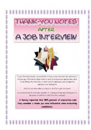thank-you note  after a job interview