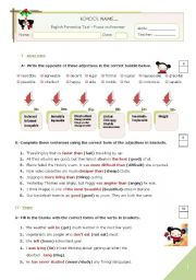 English Worksheet: KEY for the GRAMMAR TEST