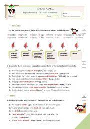 English Worksheet: KEY for the GRAMMAR TEST