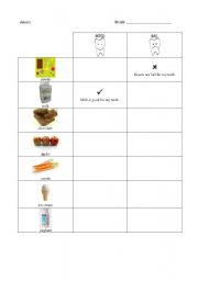 English Worksheets: Food good or bad for your teeth
