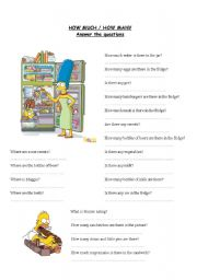 English Worksheets: HOW MUCH/ HOW MANY and prepositions