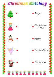 English Worksheet: Christmas Matching Game