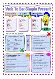 English Worksheets: Worksheet: Verb To Be - Simple Present