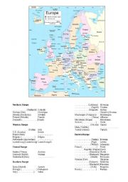 English Worksheet: Europe (countries, capitals, nationalities)