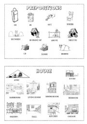 Prepositions and rooms mini-dictionary (B&W)
