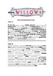 English Worksheets: Willow : continue with text reconstruction