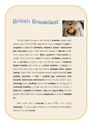 English Worksheet: British Breakfast