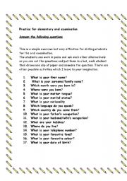 English Worksheets: oral practice for examination
