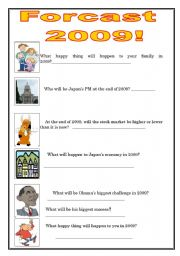 English Worksheet: Make your predictions for 2009!