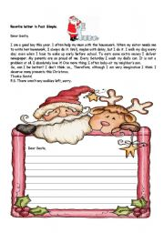 English Worksheet: rewrite the letter to santa in past simple