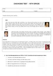English Worksheet: diagnosis test for 10th grade (topic: young people and work)- 3 pages