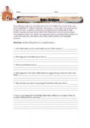 Ruby Bridges Reading Comprehension Worksheet