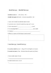 English Worksheet: should have p.p.