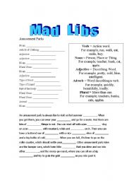 English Worksheet: Mad Libs - Amusement Parks