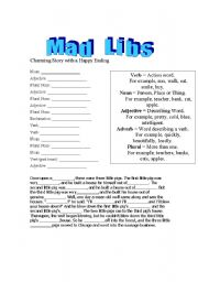 English Worksheet: Mad Libs - A Charming Story with a Happy Ending