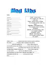 English Worksheet: Mad Libs -  India