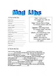 English Worksheet: Mad Libs - Trip to the Zoo