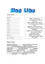 English Worksheet: Mad Libs - Weather Report