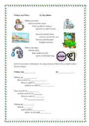 English Worksheet: poem about saving energy