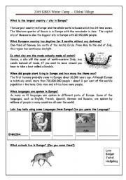 English Worksheet: Europe (2 of 3)