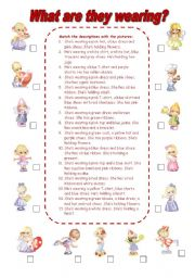 English Worksheet: What are they wearing? (1)