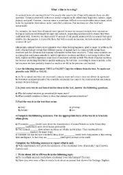 English Worksheet: Exam selectividad. What�s like to be a dog?