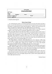 English Worksheet: Test 10th grade level VI - Technological development