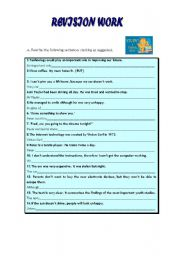 English Worksheets: revision work - ephrasing