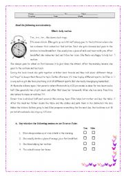 English Worksheets: ELLEN`S DAILY ROUTINE