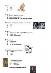 English Worksheet: Quiz about Pablo Picasso