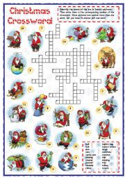 English Worksheets: Christmas vocabulary crossword