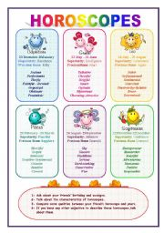 Horoscopes and adjectives (1/2)