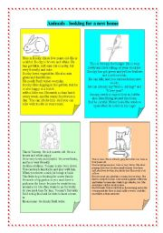 English Worksheet: animals looking for a new home