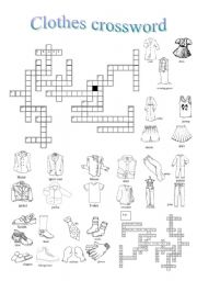 English Worksheet Clothes Crossword