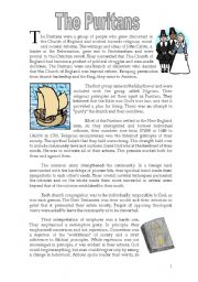 English Worksheets: The Puritans - informative text