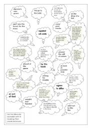 English Worksheet: idiomatic expressions